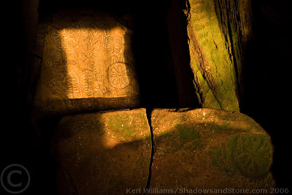 The Backstone of Cairn T illuminated by the equinox sun