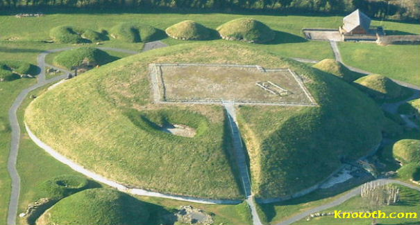 Aerial view of Knowth Great Mound and Satellite Mounds