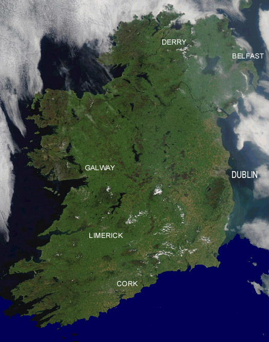 Image of the island of Ireland taken by NASA's Aqua MODIS