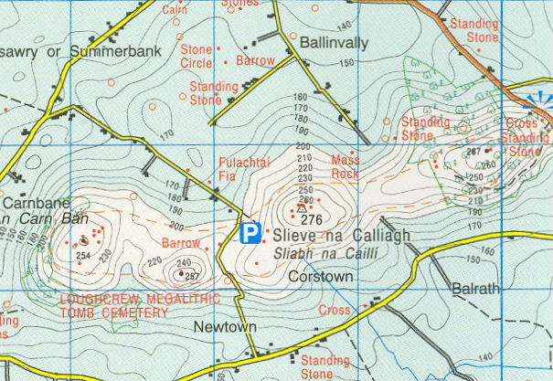 Map and directions to Loughcrew Cairns  Ireland